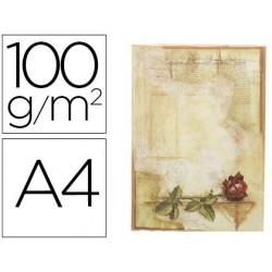 Papel pergaminho liderpapel din a4 certificado con rosa 100 gr pack de 12 folhas