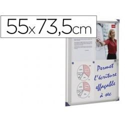 Vitrina de anuncios nobo mural magnetica extraplana de interior con puerta y marco con cerradura de aluminio 55x73