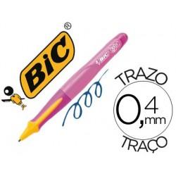 Boligrafo bic kids bp twist niña tinta aceite color azul punta de 1 mm color cuerpo rosa