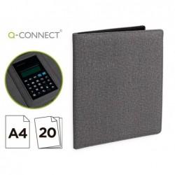 Pasta porta documentos q-connect a4 com calculadora bloco 20 folhas e departamentos interiores cor cinza 250x315 mm