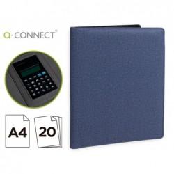 Pasta porta documentos q-connect a4 com calculadora bloco 20 folhas e departamentos interiores cor azul 250x315 mm