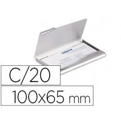 Porta cartoes durable aluminio capacidade 20 cartoes de visitas 55x90 mm cor prata 100x65 mm