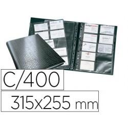 Porta cartoes durable din a4 visifix centium 4 aneis 20 bolsas com indice alfabetico para 400 cartoes de visita 57x90 mm