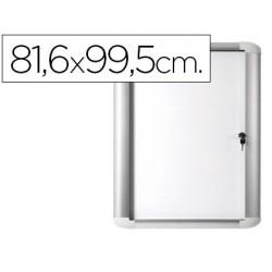 Vitrina de anuncio bi-office magnetica 816x995 mm para exterior com moldura de aluminio e fechadura