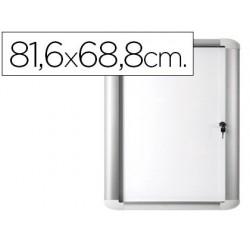 Vitrina de anuncio bi-office magnetica 816x688 mm para exterior com moldura de aluminio e fechadura