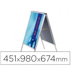 Cavalete para poster jensen expositor aluminio dupla face din a2 moldura de 25 mm com cantos 451 x 980 x 674 mm