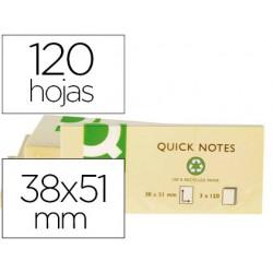Bloco de notas adesivas q-connect 38x51 mm papel reciclado amarelo com 120 folhas