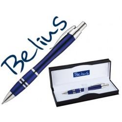 Esferografica belius kassel azul com detalhes prateados em estojo