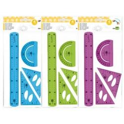 Jogo esquadro 10 cm esquadro 14 cm regua 30 cm e transferidor de plastico flexivel liderpapel cores sortidas