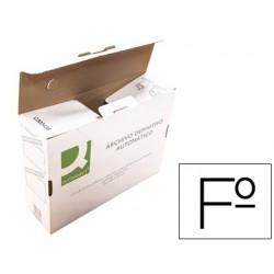 Caixa para arquivo definitivo q-connect folio cartao reciclado montagem automatica fecho com lingueta medidas: 255 x 360
