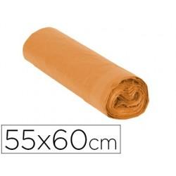 Saco de lixo domestico laranja com auto fecho 55 x 60 cm rolo de 15 bolsas
