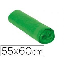 Saco de lixo domestico verde com auto fecho 55 x 60 cm rolo de 15 bolsas