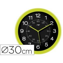 Relogio cep de parede plastico para escritorio redondo 30 cm de diametro cor verde e circulo cor preto