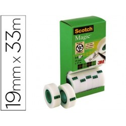 Fita adesiva scotch magic 19mm x 33 mt pack de 14 rolos com dispensador de cartao