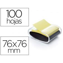 Dispensador bloco de notas adesivas post-it super sticky z note cor preto com 1 bloco 76x76 mm