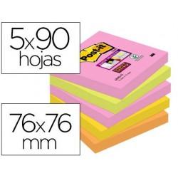 Bloco de notas adesivas post-it super sticky 76x76 mm com 90 folhas pack de 5 bloco cores sortidas colecao cape town