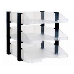 Tabuleiro de secretaria archivo 2000 plastico transparente com elevadores preto conjunto de 3 tabuleiros 280x285x350 mm