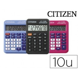 Calculadora citizen de bolso lc-110 8 digitos 10 cores sortidas -preto