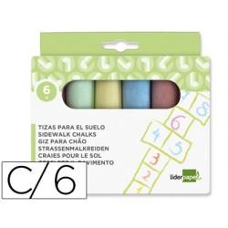Giz para chao liderpapel cores sortidas caixa 6 unidades