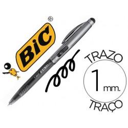Esferográfica bic cristal stylus 2 em 1 com ponteiro para visor retratil tinta a oleo 1 mm cor preto