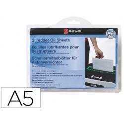 Folhas lubricantes rexel para destruidora embalagem de 20 folhas formato a5