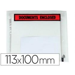 Envelope autoadesivo q-connect porta documentos multilingue113x100 mm sem janela pack de 100 unidades