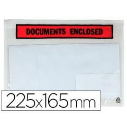 Envelope autoadesivo q-connect porta documentos multilingue 225x165 mm sem janela pack de 100 unidades