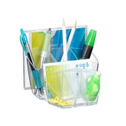 Organizador de secretaria cep com 8 compartimentos plastico transparente