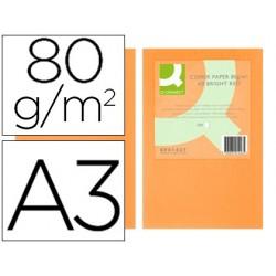 Papel de cor q-connect din a3 80gr laranja neon pack de 500 folhas