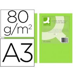 Papel de cor q-connect din a3 80gr verde neon pack de 500 folhas