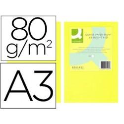 Papel de cor q-connect din a3 80gr amarelo neon pack de 500 folhas