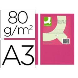 Papel de cor q-connect din a3 80gr rosa neon pack de 500 folhas