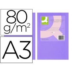 Papel de cor q-connect din a3 80gr lilas pack de 500 folhas