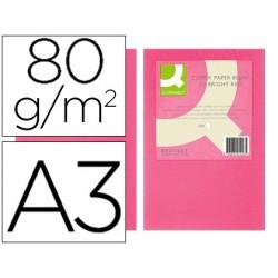 Papel de cor q-connect din a3 80gr rosa intenso pack de 500 folhas
