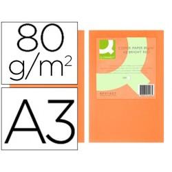 Papel de cor q-connect din a3 0gr laranja intenso pack de 500 folhas