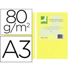 Papel de cor q-connect din a3 80gr amarelo intenso pack de 500 folhas