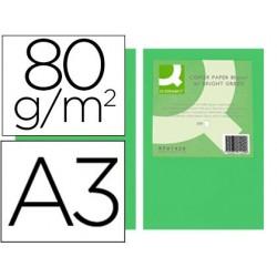 Papel de cor q-connect din a3 80gr verde intenso pack de 500 folhas