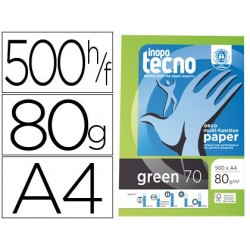 Papel fotocopia inapa tecnogreen 100 % reciclado din a4 80 gr pack de 500 folhas