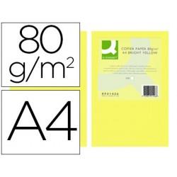 Papel de cor q-connect din a4 80gr amarelo intenso pack de 500 folhas