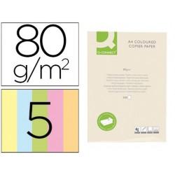 Papel de cor q-connect din a4 80 gr 5 cores sortidas pack de 500 folhas