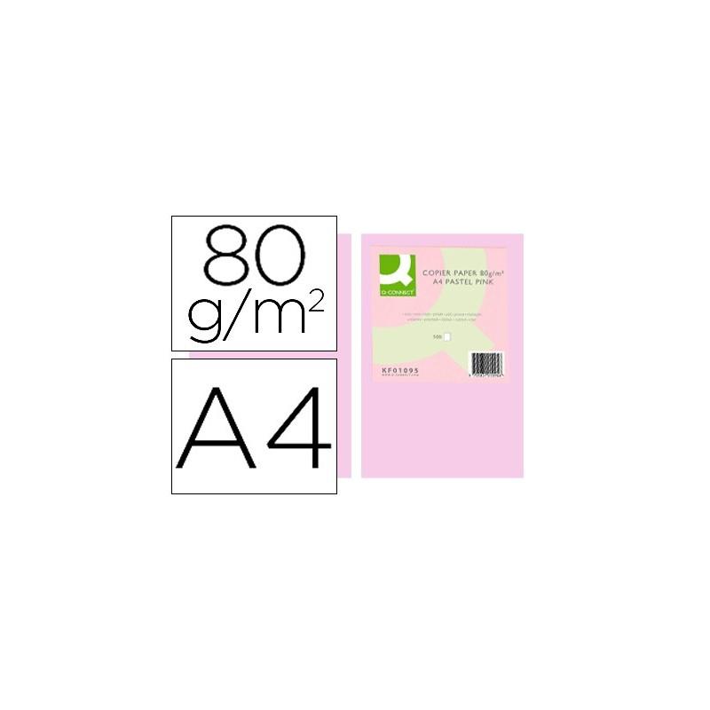 Papel de cor q-connect din a4 80 gr rosa pack de 500 folhas