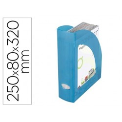 Porta revistas plastico q-connect azul translucido