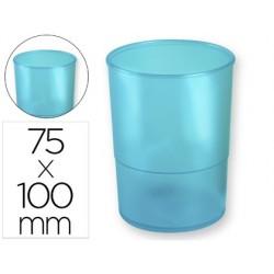 Porta lapis q-connect plastico azul translucido