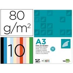 Papel de cor liderpapel din a3 80gr/m2 10 cores sortidas pack 100 folhas