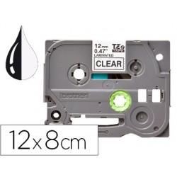 Fita q-connect tze-131 transparente-preta 12mm comprimento 8 mt