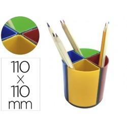 Porta lapis q-connect plastico redondo giratorio cores sortidas diametro 110 altura 110 mm