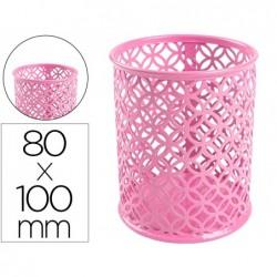 Porta lapis q-connect metal redondo rosa diametro 80 altura 100 mm