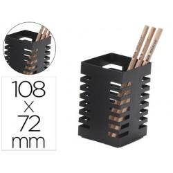 Porta lapis q-connect metal quadrado preta diametro 72 mm altura 108 mm