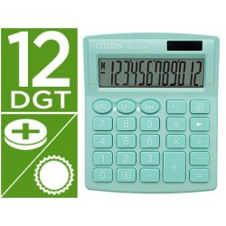 Calculadora citizen de secretaria sdc-812nrlge eco eficiente solar e a pilhas 12 digitos 124x102x25 mm verde