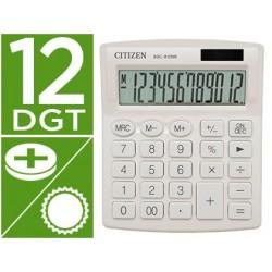 Calculadora citizen de secretaria sdc-812nrwhe eco eficiente solar e a pilhas 12 digitos 124x102x25 mm branca